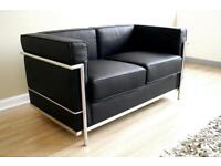 Real Black Leather 2 Seater Sofa - Le Corbusier