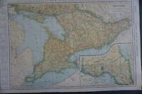 Antique 1921 VINTAGE Railroad Map ONTARIO Province -94 years old