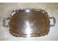 Ornate silver plated butler tray