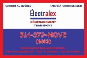 DÉMÉNAGEMENT ET TRANSPORT À PARTIR DE 55$/H 514-379-MOVE