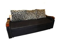 Brand New Fabric Black High Quality 3 Seater Sofa Bed with Animal Print Cushions Sleeper Sofa