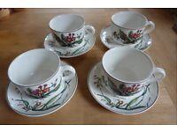 Villeroy & Boch Botanica Oversized Cup and Saucer Sets x 4
