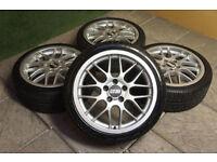 "Genuine BBS RX 17"" Alloy wheels & Tyres 5x110 Vauxhall Astra Corsa Saab 5 stud Alloys"