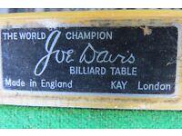 Joe Davis Table Top Snooker Table dimensions 78cm wide x 154.5 cm long