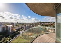 +Stylish 2 bed 2 bath w/ 18th floor views! Balcony & integrated kitchen in Lewisham SE13