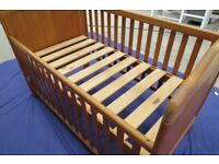 Solid Beech Lemberk COT BED + Cot Top Changer, Musical Mobile & TOMY Bed Guard