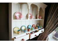 Gorgeous solid pine wall plate and shelve rack in Farrow and Ball eggshell colour Off White No3
