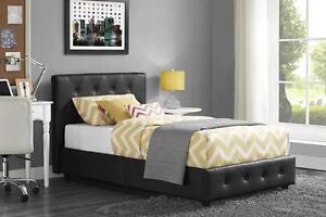 neuf lit plateforme noir avec perle (ali2)