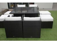 Rattan garden dining set /furniture by Oceans,table+ 8 seats+cushions+white &grey covers, RRP £1400.