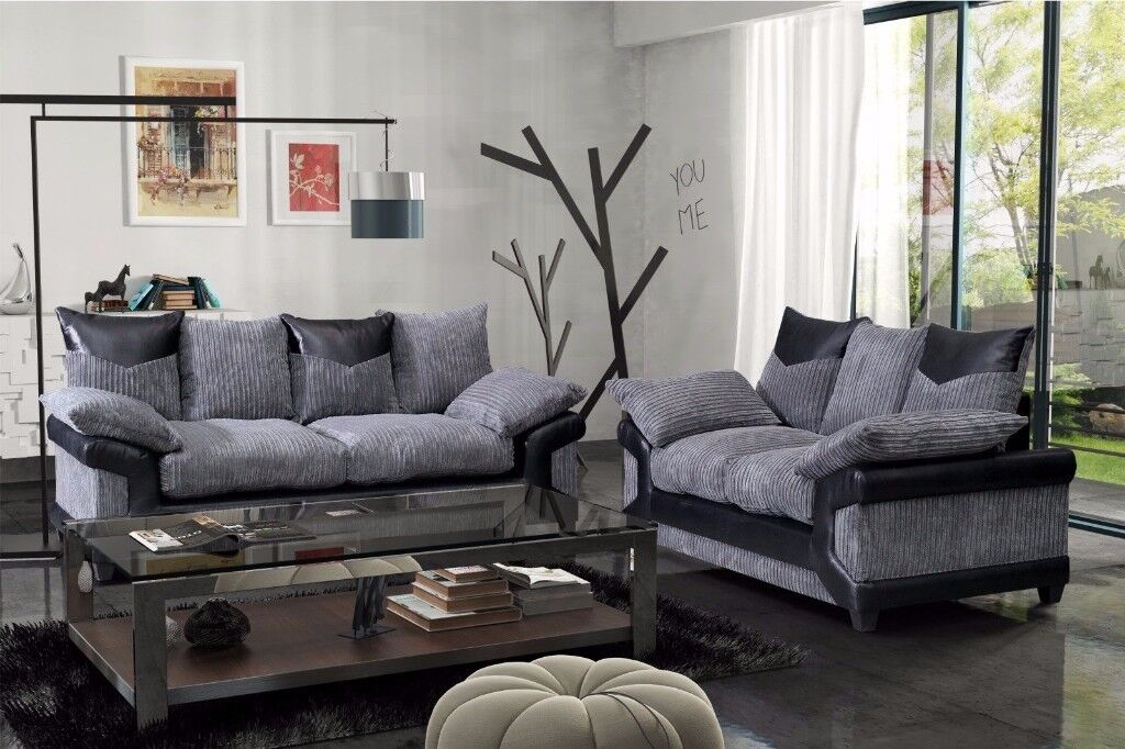 same day fast delivery BRAND NEW SUPREMO DINO JUMBO CORD CORNER OR 3 AND 2 SOFA SET