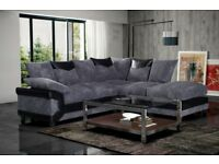 High Quality --- Modern Comfy Large Dino Left Hand Fabric Corner Sofa In Brown & Mocha Colour