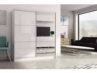 Brand New High Gloss 2 Door Sliding Wardrobe with Mirror Shelves, Hanging Rails Cupboard Black/White