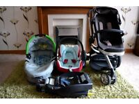 Quinny Buzz Pram, DreamiCot and Maxi Cosi Car Seat with Isofix Base