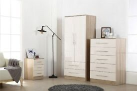 wait ,Three Piece Bedroom Furniture Set - Bedside, chest, fitment wardrobe