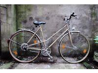 KALKHOFF, 21 inch, vintage ladies womens hybrid mixte frame road bike, 10 speed, rack and mudguards