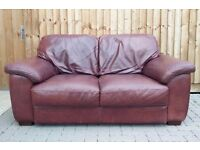 FREE DELIVERY /Quality made Real leather 2 seater brown sofa