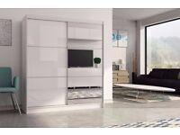 limited offer == Brandal Black Glass Luxury Sliding Door Wardrobe -SAME DAY DELIVERY!