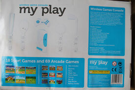 My Play wireless games console with 18 sports games and 69 arcade games
