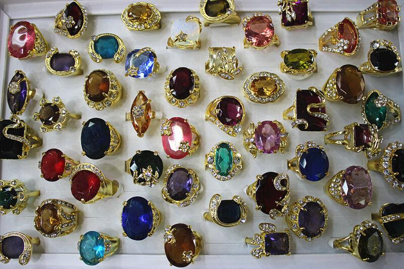 Fashion Mixed Lots 34pcs Rhinestone Imitation zircon Gold P lady