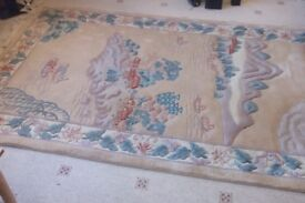 Neutral colour Chinese raised pattern 100% wool rug 8 ft x 5 ft , 250 x 150 cms