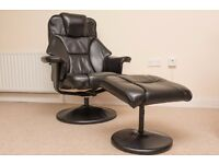 Black Swivel Recliner Chair With Footstool-good condition £70 RRP £189