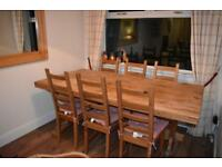 Large Reclaimed Oak Solid Wood Table and 6 dining chairs