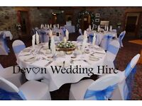 DEVON HIRE White Lycra Wedding chair covers WITH SASHES IN ANY COLOUR £100 FOR 100 **Special Offer !