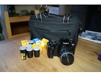 Minolta Dynax 600si Classic Film SLR camera + 28-80mm Minolta lens (Sony DSLR capable) + bag + films