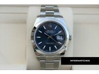 Rolex Datejust Stainless Steel Blue Baton Dial