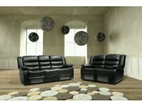 REMINI 3 SEATER HIGH BACK RECLINER SOFA £449 AND GET THE 2 SEATER RECLINER FREE !!!