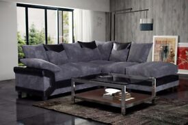 -Cheapest Price Guaranteed- Dino Jumbo Cord Corner or 3&2 Seater Sofa in Black/Grey Or Brown/Beige