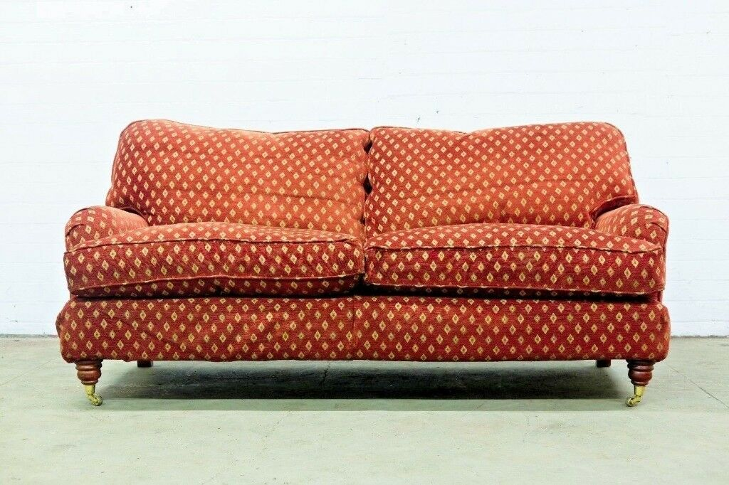 Luxury Howard Style Two Seater Sofa In Red Gold Fabric Free Uk Deliver