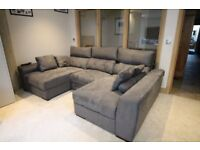 WORLD STORES FABRIC GREY/BLUE FABRIC U-SHAPE RECLINER CORNER SOFA - MUST GO ASAP CHEAP DELIVERY-£650
