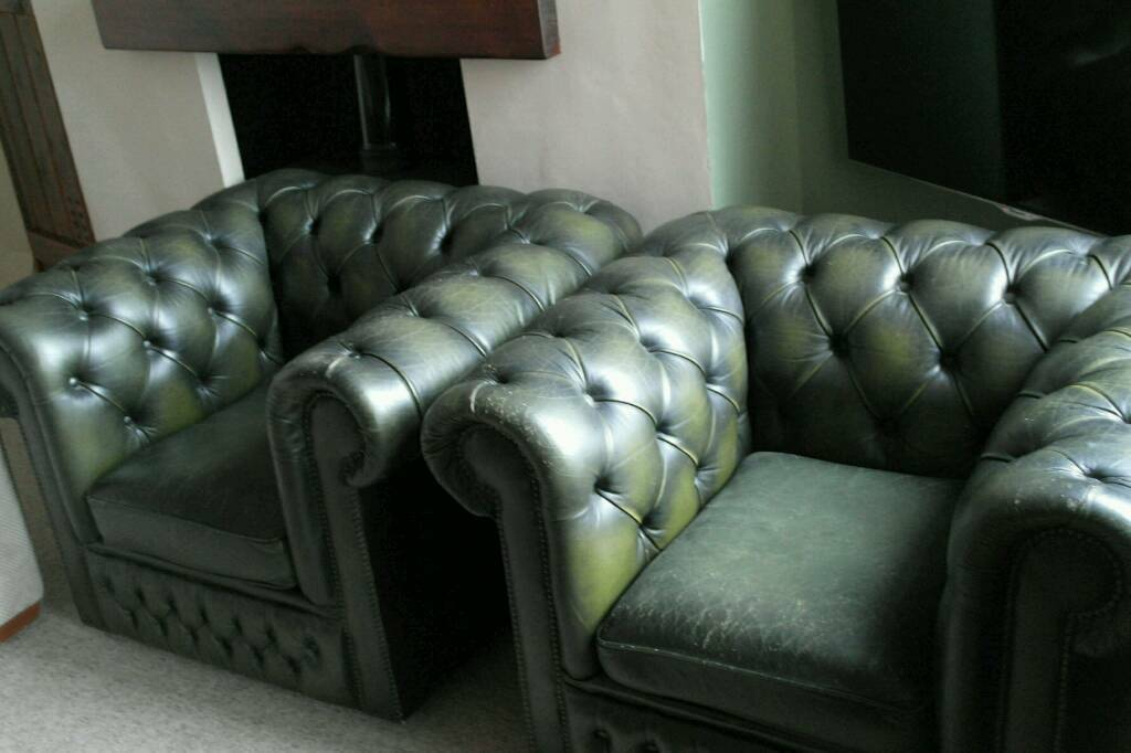 Two Green Leather Chesterfield Club Chairs Sofas