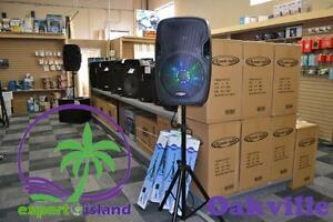 "Acoustic Audio 15"" 1000 Watt Active Powered DJ PA Bluetooth Speaker w/ LED Motion Lights and Bonus Stand"