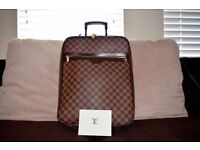 Louis VUITTON suitcase Pegase 45 Damier Ebene of travel with receipt of purchase.