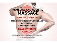 Remedial, Deep tissue, Swedish massage at Willesden green. Waxing.