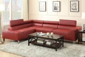 Poundex Bokona Miter Bonded Leather 2 Piece Sectional, Burgundy NEW ** 5 CORNERS FURNITURE **