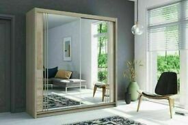 💥💯SUPER DISCOUNT ON 2 DOORS SLIDING WARDROBE WITH FULL MIRRORS ALL SHELVES & RAILS INCLUDED