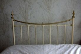 "Beautiful Brass and Cream 4' 6"" headboard"