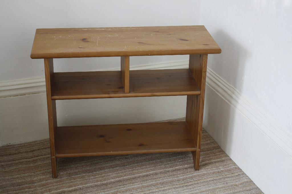 Ikea wooden sturdy free standing shelving unit bench for for Ikea wood shelving units