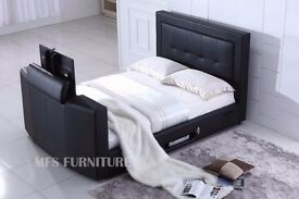 KING SIZE TV BED - BRAND NEW - BLACK LEATHER - FITS UP TO 36 INCH TV - MATTRESSES AVAILABLE