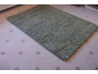 Green shaggy style Rug Size 120 x 70