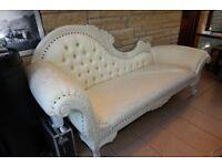 Sofa,Chaise Longue Antique White Ivory Cream Carved Crystal Event Salon Sofa
