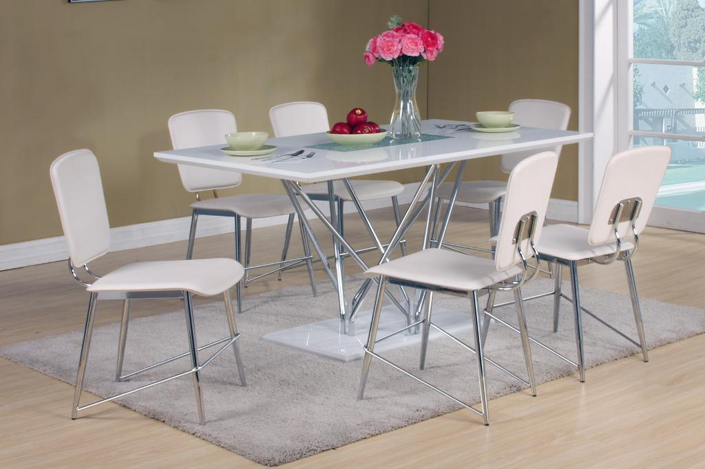 White High Gloss Dining Table With 6 Chairs