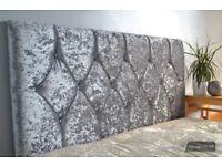 Stunning Diamond Design Headboard, Diamente, Crush Velvet, 3FT, 4FT, 4FT6, 5FT