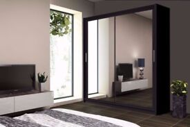 2 DOOR WARDROBE Full Mirror Door size 120/150/180/203/250cm , SHELVES & HANGING RAILS BED FURNITURE