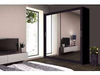 2 DOOR WARDROBE Full Mirror Door size 120/150/180/203/250cm , SHELVES & HANGING RAILS BED FURNITURE