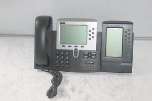Cisco 7960G Unified VoIP Phone w/ Expansion Module (CP-7914) - LCD Touch Screen - Used/Tested & Works