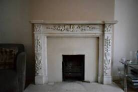 Ornate antique-style real marble fireplace surround